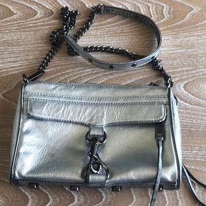 REBECCA MINKOFF Distressed Silver Mini Bag